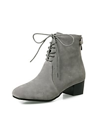 cheap -Women's Shoes Flocking Fall Winter Comfort Boots Chunky Heel Square Toe Zipper Lace-up For Outdoor Office & Career Khaki Gray Black