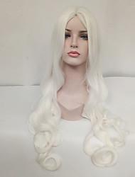 abordables -Mujer Pelucas sintéticas Largo Ondulado Blanco Raya en medio Peluca de cosplay Pelucas para Disfraz