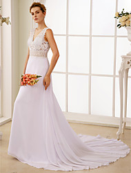 A-Line V-neck Court Train Chiffon Lace Wedding Dress with Lace by LAN TING BRIDE®