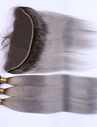 cheap -Indian Hair Straight Hair Weft with Closure Human Hair Weaves Black / Grey Human Hair Extensions