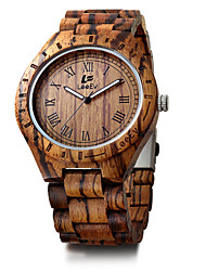 Men's Kid's Sport Watch Bracelet Watch Wood Watch Japanese Quartz Calendar / date / day Chronograph Punk Large Dial Wood Band Luxury