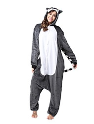 cheap -Kigurumi Pajamas Lemur Monkey Onesie Pajamas Costume Flannel Toison Brown Cosplay For Adults' Animal Sleepwear Cartoon Halloween Festival