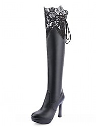 Women's Shoes Leatherette Fall Winter Comfort Novelty Bootie Boots Stiletto Heel Round Toe Thigh-high Boots Lace-up For Casual Office &