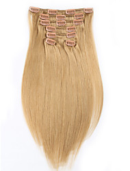 cheap -Straight Malaysian Light Blonde #27 Full Head Natural 100 Gram 7 pieces Clip In Human Hair Extensions