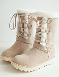 baratos -Mulheres Sapatos Pele Nobuck Outono / Inverno Conforto / Inovador / Botas de Neve Botas Sem Salto Dedo Apontado Botas Cano Médio Cadarço