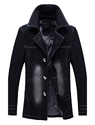cheap -Men's Plus Size Cotton Trench Coat - Color Block Shirt Collar