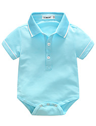 Baby Solid One-Pieces,100%Cotton Summer Short Sleeve
