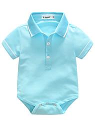 baratos -bebê Para Meninos Peça Única Sólido Verão 100% Algodão Manga Curta Bege Azul Marinha Cinzento Amarelo Azul Claro