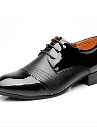 "cheap -Men's Latin Real Leather Oxford Indoor Splicing Chunky Heel Black 1"" - 1 3/4"""