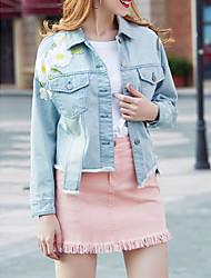cheap -Women's Going out Boho Spring Fall Denim Jacket,Print Shirt Collar Long Sleeve Regular Others