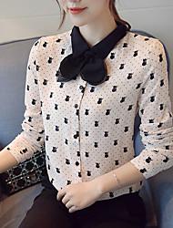 cheap -Women's Work Polyester Blouse Print Shirt Collar