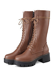 cheap -Women's Shoes PU Fall Winter Comfort Novelty Fashion Boots Boots Chunky Heel Round Toe Mid-Calf Boots Zipper Lace-up For Office & Career
