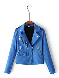 Feminino Jaquetas de Couro Para Noite Casual Simples Moda de Rua Primavera Outono,Sólido Padrão Pele Colarinho de Camisa Manga Longa