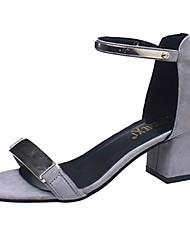 abordables -Mujer Zapatos PU Primavera / Otoño Suelas con luz Sandalias Talón de bloque Puntera abierta Hebilla Negro / Gris / Sandalias de Tacón