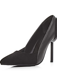 Women's Heels Basic Pump Spring Fall Leatherette Office & Career Party & Evening Stiletto Heel Nude Black 3in-3 3/4in