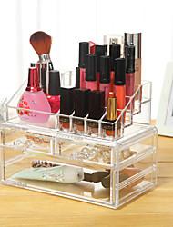 Opbevaringsløsninger til makeup Ensfarvet Kvadrat Plastik Bisque Normal 23.6*14*18.9 Unisex