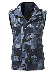 cheap -Men's Daily Simple Casual Winter Fall Vest,Solid V Neck Long Sleeve Regular PU