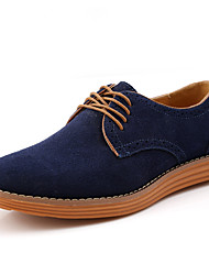 cheap -Men's Shoes Suede Fall Winter Comfort Oxfords Lace-up For Casual Outdoor Light Brown Blue Coffee Gray Black