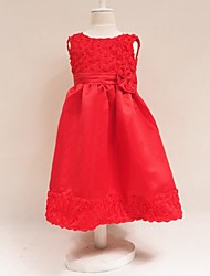 cheap -Girl's Birthday Going out Solid Dress, Cotton Polyester Summer Short Sleeves Lace Red Fuchsia