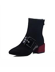 Damen Schuhe Kunstleder Herbst Winter Modische Stiefel Stiefel Blockabsatz Spitze Zehe Booties / Stiefeletten Schnalle Für Normal Schwarz