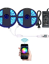 abordables -10m Cuerdas de Luces 600 LED RGB Control remoto / Cortable / Regulable 100-240 V 1 juego / IP65 / Impermeable / Conectable / Auto-Adhesivas / Color variable