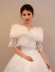 cheap -Faux Fur Lace Wedding Party / Evening Women's Wrap With Rhinestone Beading Lace-trimmed bottom Capelets