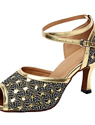 cheap -Women's Latin Shoes Sparkling Glitter Sandal Customized Heel Dance Shoes Gold / Silver / Indoor