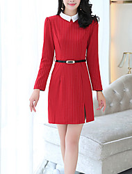 Women's Going out Casual/Daily Work Vintage Street chic Sophisticated Sheath Dress,Striped Shirt Collar Above Knee Long Sleeves Others