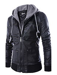 Men's Daily Simple Casual Winter Leather Jacket,Solid Color Block Hooded Long Sleeve Regular PU