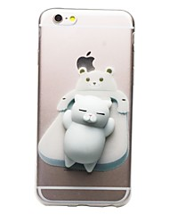 cheap -Case For Apple iPhone 7 Plus iPhone 7 Transparent Pattern Squishy DIY Back Cover Cat 3D Cartoon Soft TPU for iPhone 7 Plus iPhone 7