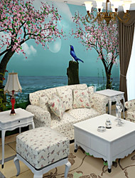 cheap -sky Flower/Floral Tree Home Decoration Pastoral Style Wall Covering, Canvas Material Adhesive required Mural, Room Wallcovering