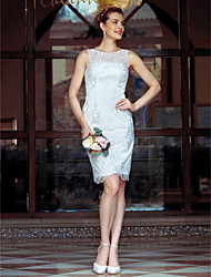 cheap -Sheath / Column Illusion Neck Knee Length Metallic Lace Made-To-Measure Wedding Dresses with Lace by LAN TING BRIDE® / Little White Dress