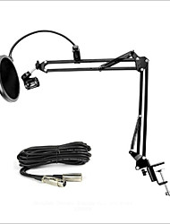 Nb-35 Microphone Stand Suspension Boom Scissor Arm Holder Adjustable For Desktop Studio Recording With Pop Filter 3Pin XLR Cable