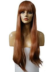 cheap -Women Synthetic Wig Capless Very Long Straight Brown/Burgundy Highlighted/Balayage Hair With Bangs Party Wig Celebrity Wig Halloween Wig