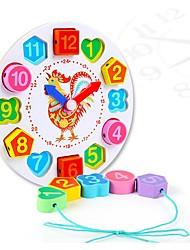 Недорогие -Деревянные часы Математические игрушки Устройства для снятия стресса Обучающая игрушка Игрушки Круглый Цыпленок Часы Своими руками