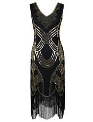 preiswerte -Latein-Tanz Kleider Damen Leistung Polyester Pailletten Pailetten Quaste Ärmellos Hoch Kleid
