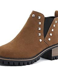 Недорогие -Для женщин Обувь Полиуретан Осень Зима Удобная обувь На плокой подошве На плоской подошве Круглый носок Бусины Назначение Повседневные