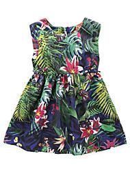 Mädchen Kleid Blumen Polyester Sommer Ärmellos
