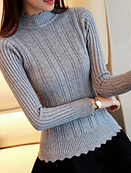 Mujer Regular Pullover Casual/Diario Simple,Un Color Cuello Barco Manga Larga Nailon Primavera Fino Microelástico