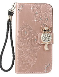 cheap -Case For Samsung Galaxy S8 Plus S8 Holder Wallet Rhinestone with Stand Flip Embossed Pattern Full Body Case Owl Hard PU Leather