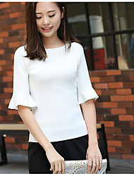 Women's Casual/Daily Regular Pullover,Solid Round Neck 3/4 Length Sleeves Cotton Summer Thin Micro-elastic