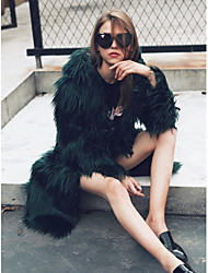 cheap -Women's Daily Work Simple Casual Active Street chic Winter Fall Fur Coat,Solid Hooded Long Sleeve Long Faux Fur