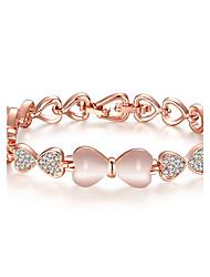 economico -Per donna Bracciale imitazione Opale Cuore Placcato oro rosa A forma di cuore A fiocchetto Gioielli Per Matrimonio Ufficio