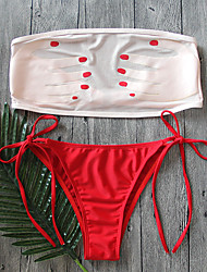 billige -Dame Bikini Badetøj Blomster Mesh,Trykt mønster Bandeau Hvid