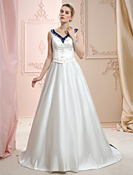 A-Line Princess V-neck Court Train Satin Wedding Dress with Beading Embroidery by LAN TING BRIDE®