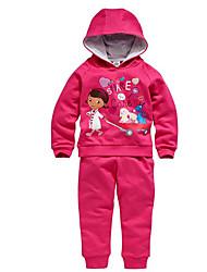 billige -Pige Tøjsæt Bomuld Polyester Forår Efterår Langærmet Pænt tøj Rosa
