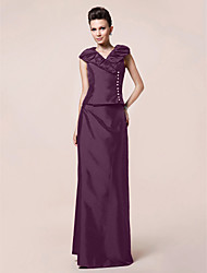 cheap -Sheath / Column V Neck Floor Length Taffeta Mother of the Bride Dress with Buttons Draping by LAN TING BRIDE®