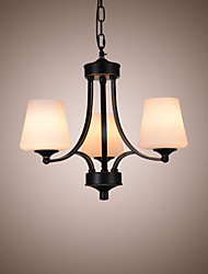 cheap -American style chandeliers living room glass  simple home improvement lamps  iron three heads chandeliers
