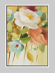 Floral/Botanical Cartoon Framed Art Print Frame Art Wall Art,Alloy Material With Frame For Home Decoration Frame Art Living Room 1 Piece