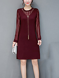 Women's Plus Size Work Street chic Sheath Dress,Solid Round Neck Knee-length Long Sleeves Polyester Fall Mid Rise Inelastic Medium
